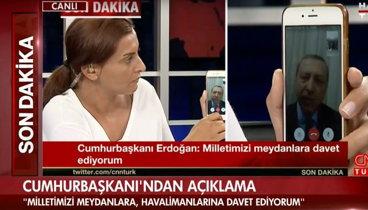 Erdogan making a statement via FaceTime (YouTube/Habertürk TV Canlı Yayın)
