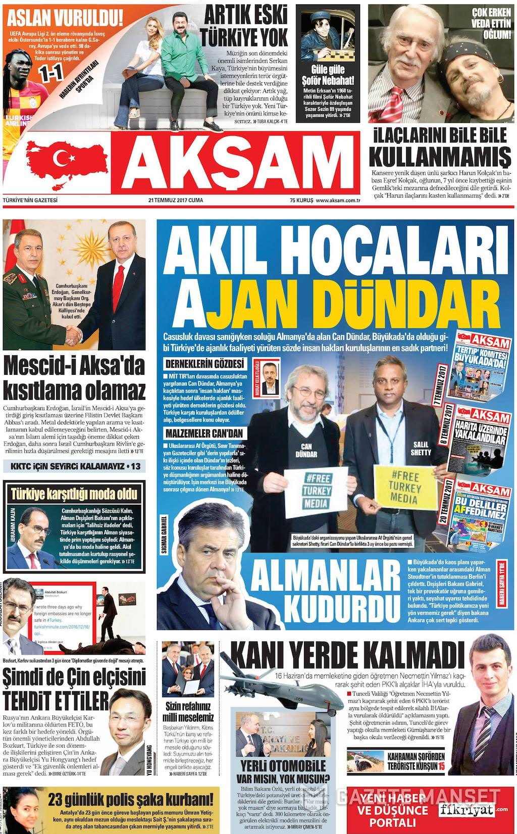 Pro-govt Aksam daily came out with the headline, 'Their Mastermind is Agent Dundar' on 21 July. width=