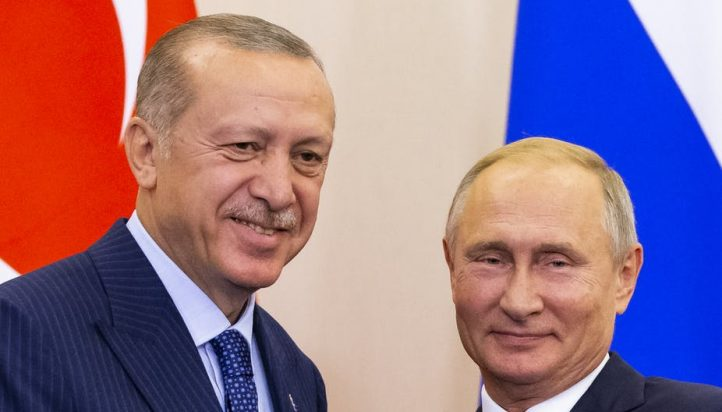 Russian president Vladimir Putin (R) and Turkish president Recep Tayyip Erdogan (L) meet in Sochi, Russia, on September 17, 2018. EPA Images